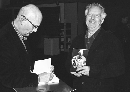 Peter Finch signing Morgan Francis's copy